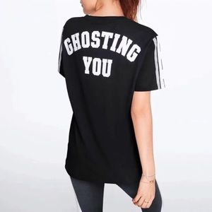 VS Pink Ghosting You Sequin Graphic Tee in Black